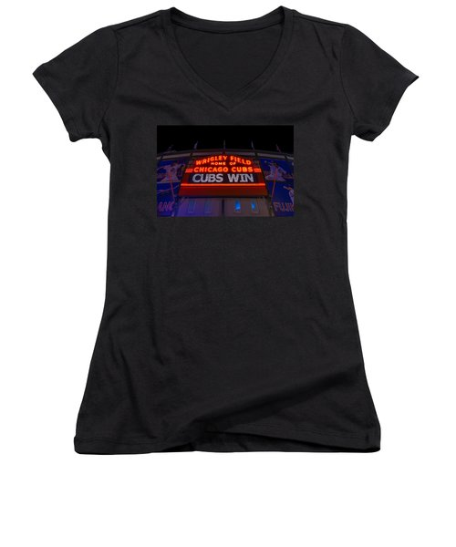Cubs Win Women's V-Neck T-Shirt (Junior Cut) by Steve Gadomski