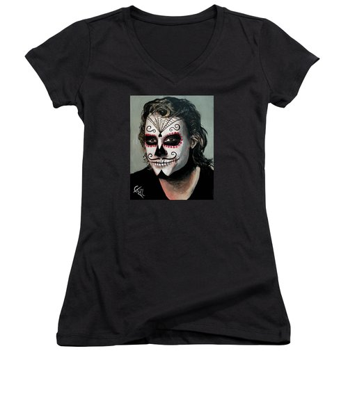 Day Of The Dead - Heath Ledger Women's V-Neck T-Shirt (Junior Cut) by Tom Carlton