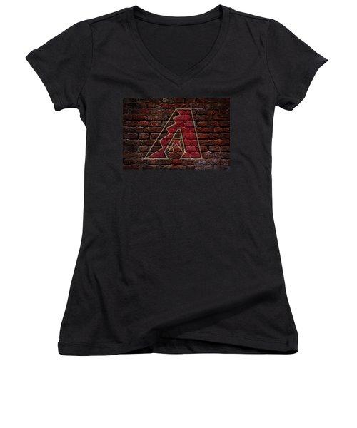 Diamondbacks Baseball Graffiti On Brick  Women's V-Neck T-Shirt (Junior Cut) by Movie Poster Prints