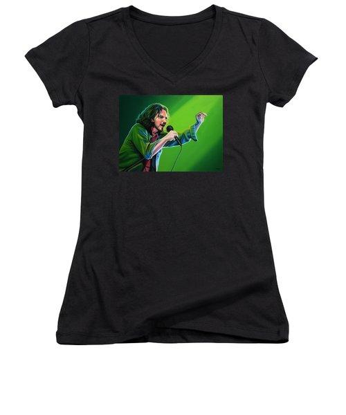 Eddie Vedder Of Pearl Jam Women's V-Neck T-Shirt (Junior Cut) by Paul Meijering