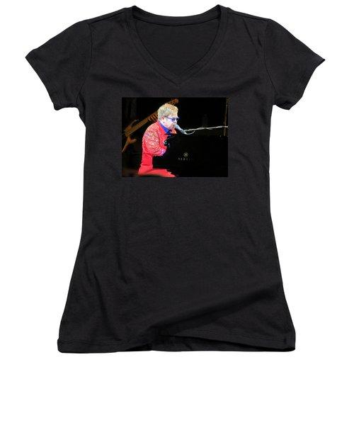 Elton John Live Women's V-Neck T-Shirt (Junior Cut) by Aaron Martens