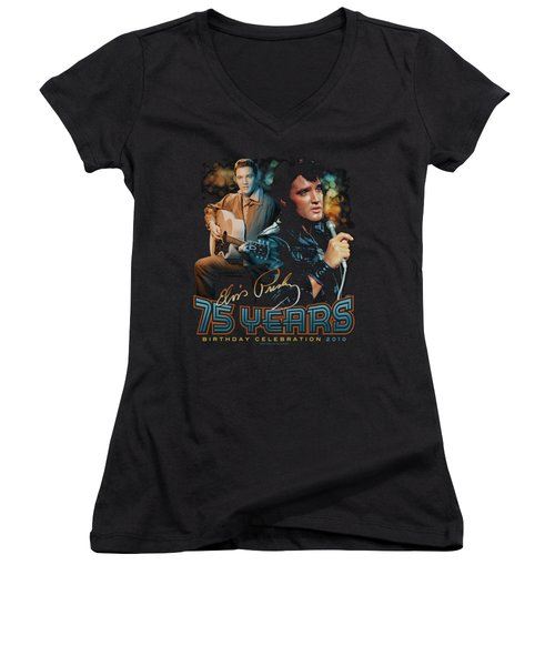 Elvis - 75 Years Women's V-Neck T-Shirt (Junior Cut) by Brand A