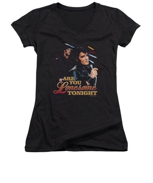 Elvis - Are You Lonesome Women's V-Neck T-Shirt (Junior Cut) by Brand A