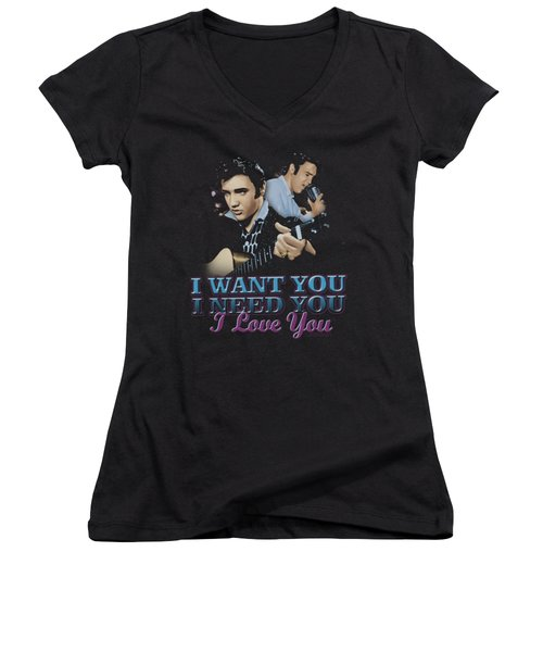 Elvis - I Want You Women's V-Neck T-Shirt (Junior Cut) by Brand A