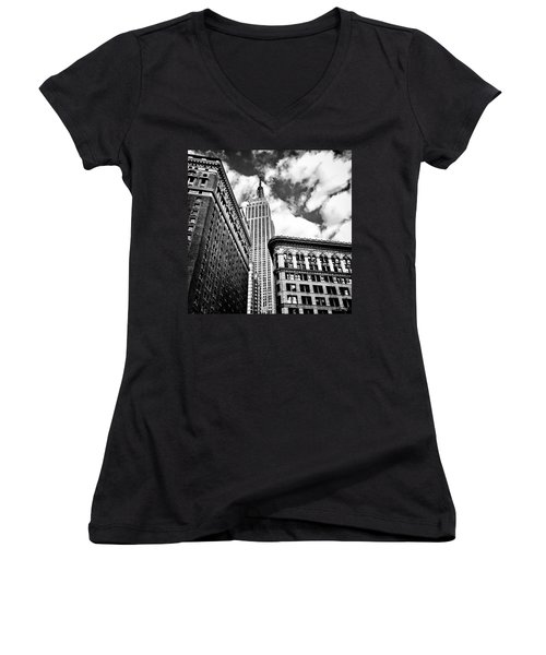 Empire State Building And New York City Skyline Women's V-Neck T-Shirt (Junior Cut) by Vivienne Gucwa