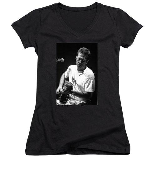 Eric Clapton 003 Women's V-Neck T-Shirt (Junior Cut) by Timothy Bischoff