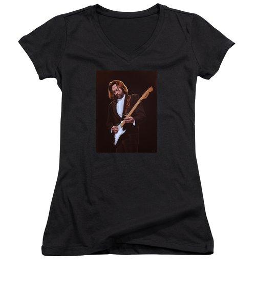 Eric Clapton Painting Women's V-Neck T-Shirt (Junior Cut) by Paul Meijering