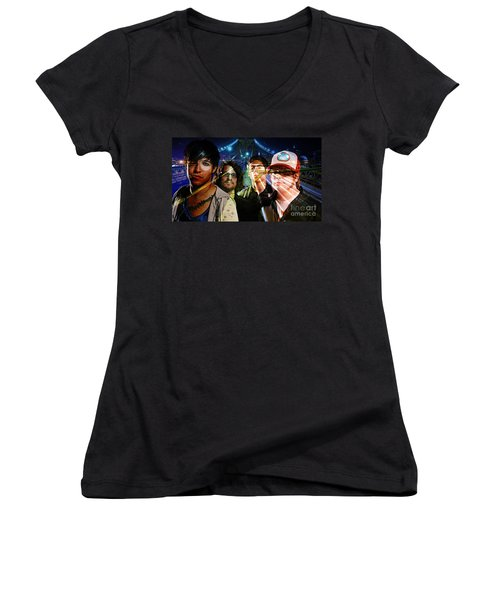 Fall Out Boy Women's V-Neck T-Shirt (Junior Cut) by Marvin Blaine