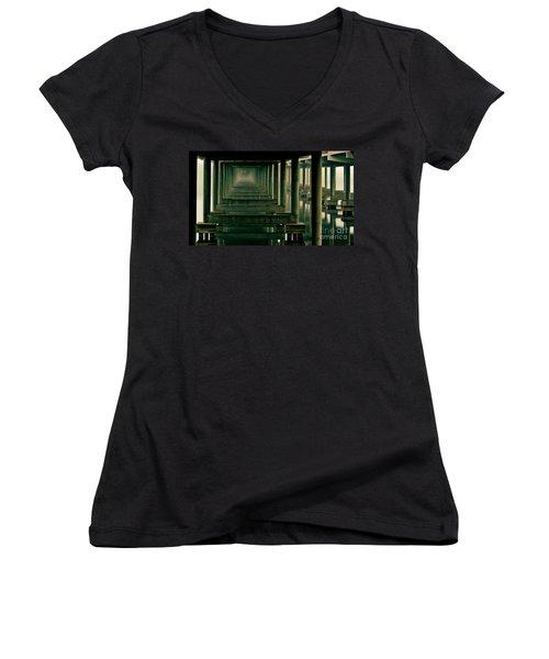 Foggy Morning Under Bridge Women's V-Neck T-Shirt (Junior Cut) by Robert Frederick
