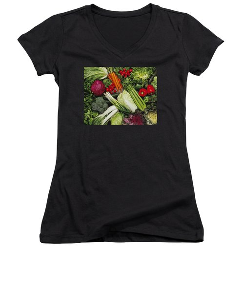 Food- Produce, Mixed Vegetables Women's V-Neck T-Shirt (Junior Cut) by Ed Young