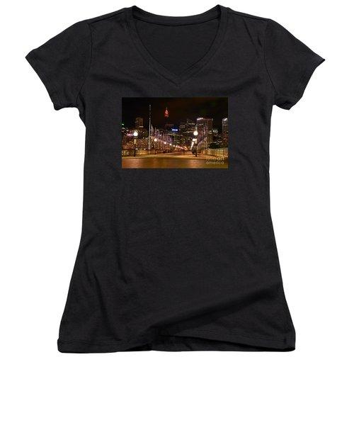 Foot Bridge By Night Women's V-Neck T-Shirt (Junior Cut) by Kaye Menner