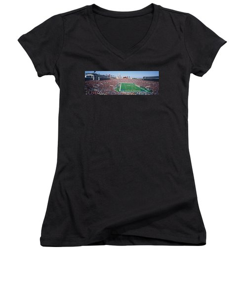 Football, Soldier Field, Chicago Women's V-Neck T-Shirt (Junior Cut) by Panoramic Images
