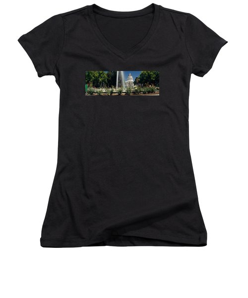Fountain In A Garden In Front Women's V-Neck T-Shirt (Junior Cut) by Panoramic Images