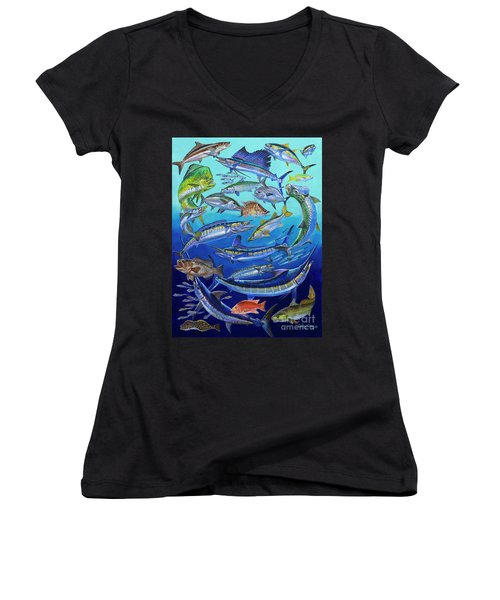 Gamefish Collage In0031 Women's V-Neck T-Shirt (Junior Cut) by Carey Chen