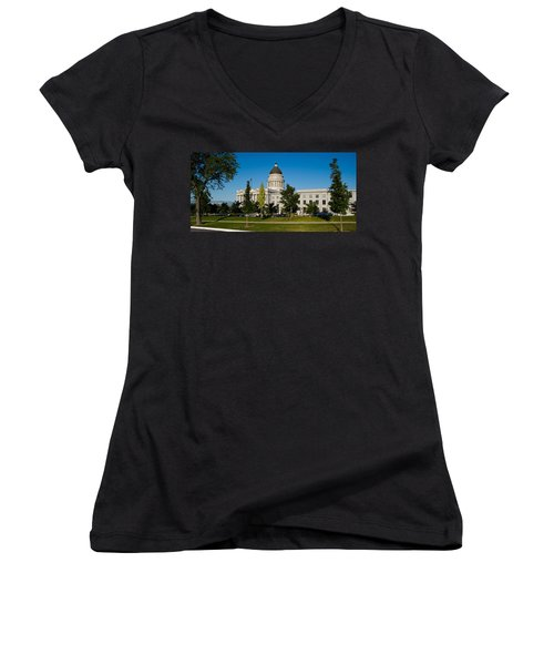 Garden In Front Of Utah State Capitol Women's V-Neck T-Shirt (Junior Cut) by Panoramic Images