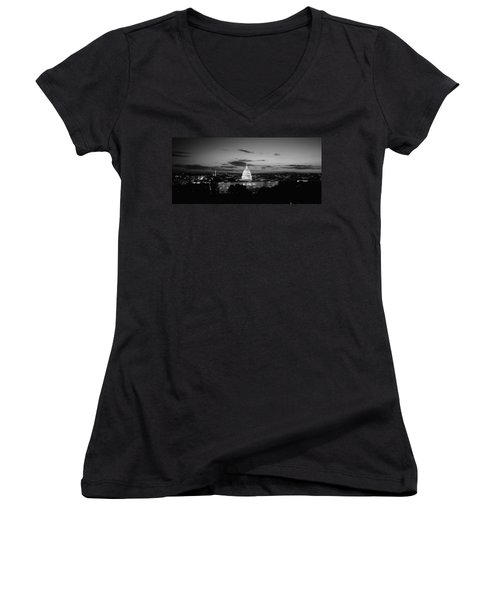 Government Building Lit Up At Night, Us Women's V-Neck T-Shirt (Junior Cut) by Panoramic Images