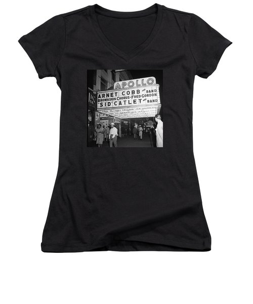 Harlem's Apollo Theater Women's V-Neck T-Shirt (Junior Cut) by Underwood Archives Gottlieb