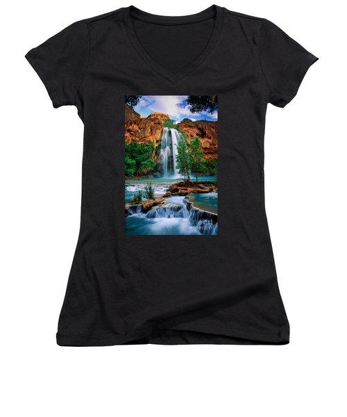 Havasu Cascades Women's V-Neck T-Shirt (Junior Cut) by Inge Johnsson