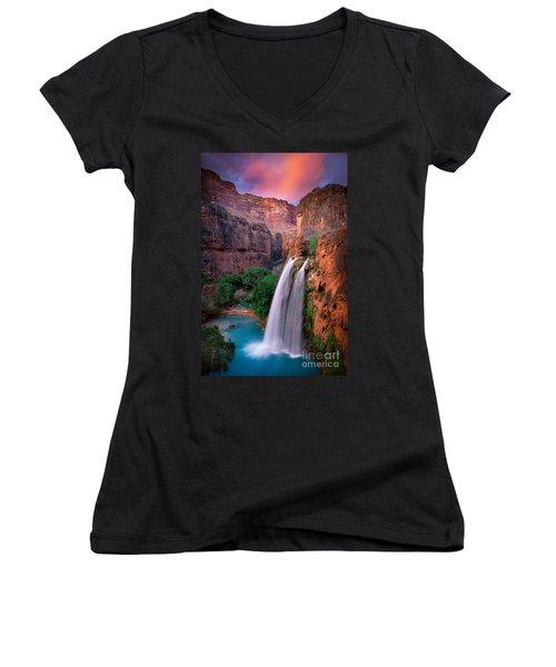 Havasu Falls Women's V-Neck T-Shirt (Junior Cut) by Inge Johnsson