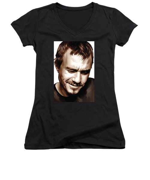 Heath Ledger Artwork Women's V-Neck T-Shirt (Junior Cut) by Sheraz A