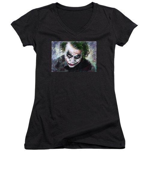Heath Ledger The Dark Knight Women's V-Neck T-Shirt (Junior Cut) by Viola El