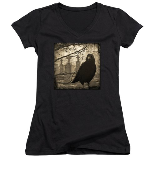 Her Graveyard Women's V-Neck T-Shirt (Junior Cut) by Gothicrow Images