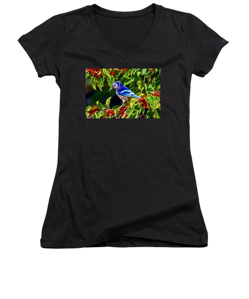 Hiding In The Berries Women's V-Neck T-Shirt (Junior Cut) by Stephen Younts