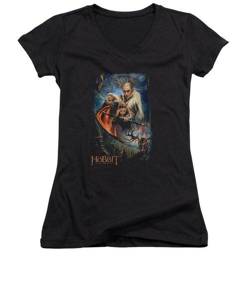 Hobbit - Thranduil's Realm Women's V-Neck T-Shirt (Junior Cut) by Brand A