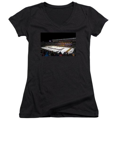 Hockey City Classic Women's V-Neck T-Shirt (Junior Cut) by Tom Gort