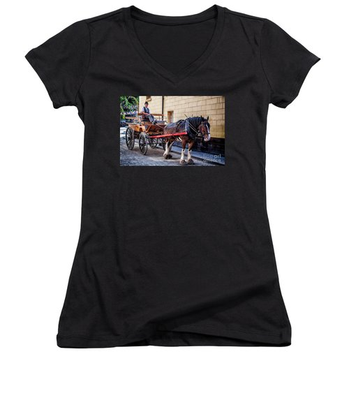 Horse And Cart Women's V-Neck T-Shirt (Junior Cut) by Adrian Evans
