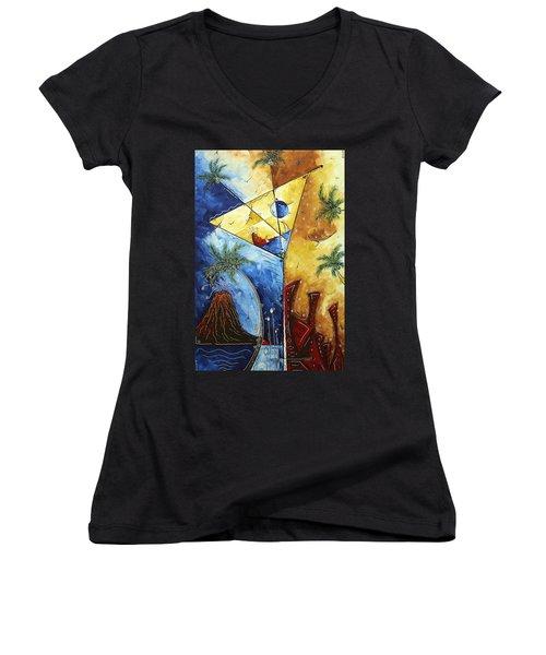 Island Martini  Original Madart Painting Women's V-Neck T-Shirt (Junior Cut) by Megan Duncanson