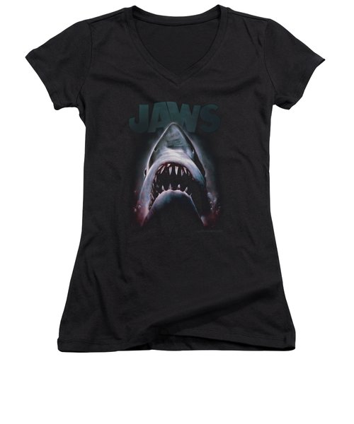 Jaws - Terror In The Deep Women's V-Neck T-Shirt (Junior Cut) by Brand A