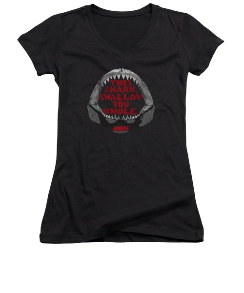 Jaws - This Shark Women's V-Neck T-Shirt (Junior Cut) by Brand A