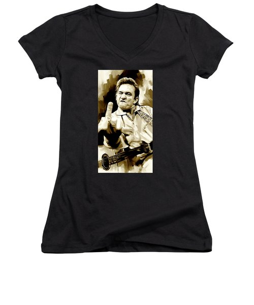 Johnny Cash Artwork 2 Women's V-Neck T-Shirt (Junior Cut) by Sheraz A