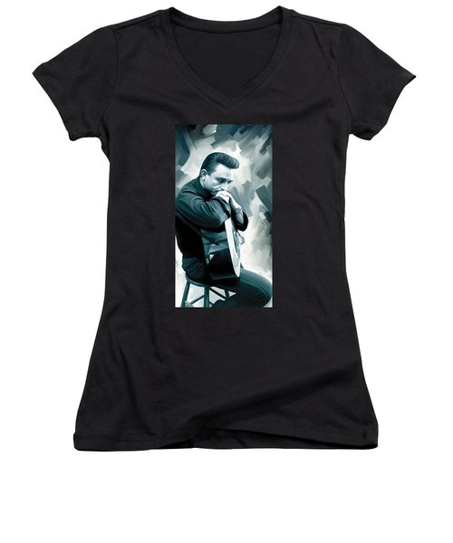 Johnny Cash Artwork 3 Women's V-Neck T-Shirt (Junior Cut) by Sheraz A