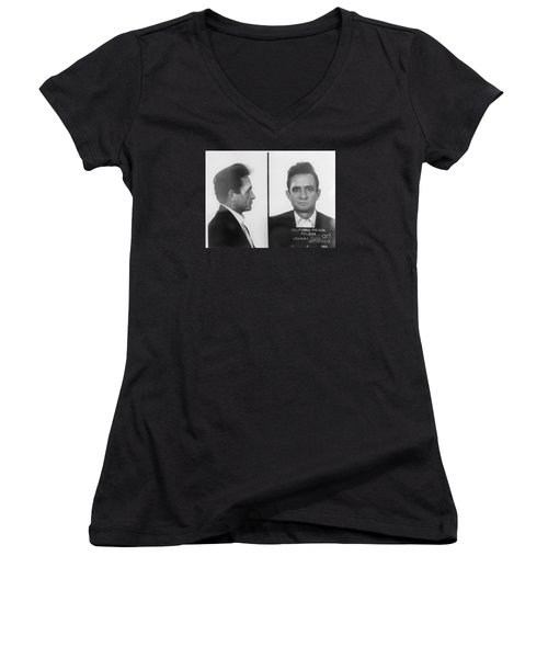 Johnny Cash Folsom Prison Women's V-Neck T-Shirt (Junior Cut) by David Millenheft