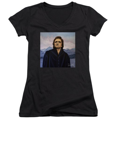 Johnny Cash Painting Women's V-Neck T-Shirt (Junior Cut) by Paul Meijering