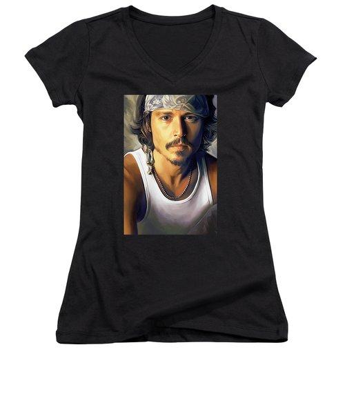 Johnny Depp Artwork Women's V-Neck T-Shirt (Junior Cut) by Sheraz A