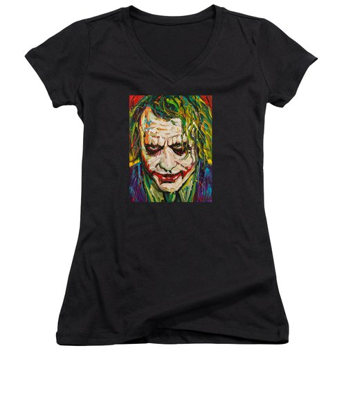 Joker Women's V-Neck T-Shirt (Junior Cut) by Michael Wardle