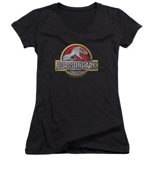 Jurassic Park - Logo Women's V-Neck T-Shirt (Junior Cut) by Brand A