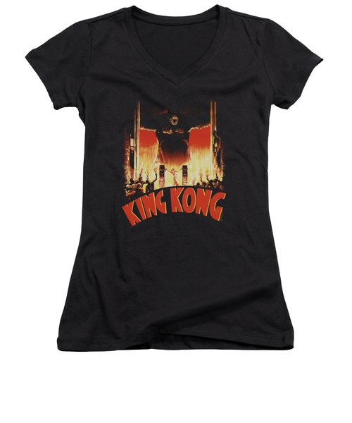 King Kong - At The Gates Women's V-Neck T-Shirt (Junior Cut) by Brand A