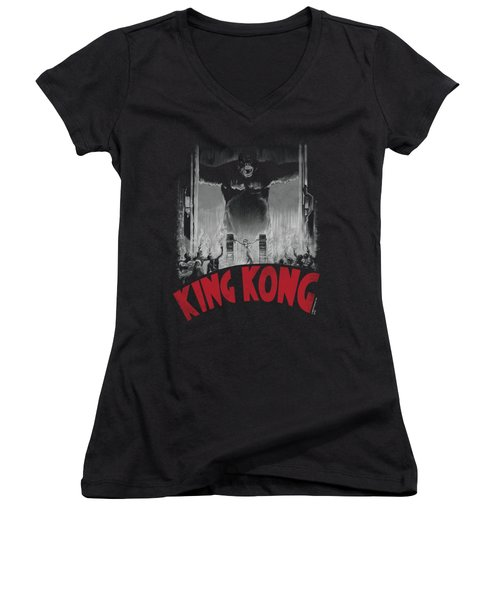 King Kong - At The Gates Poster Women's V-Neck T-Shirt (Junior Cut) by Brand A