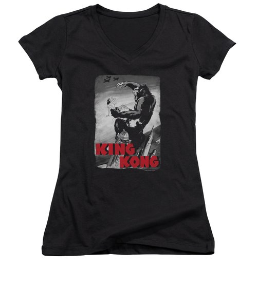 King Kong - Planes Poster Women's V-Neck T-Shirt (Junior Cut) by Brand A