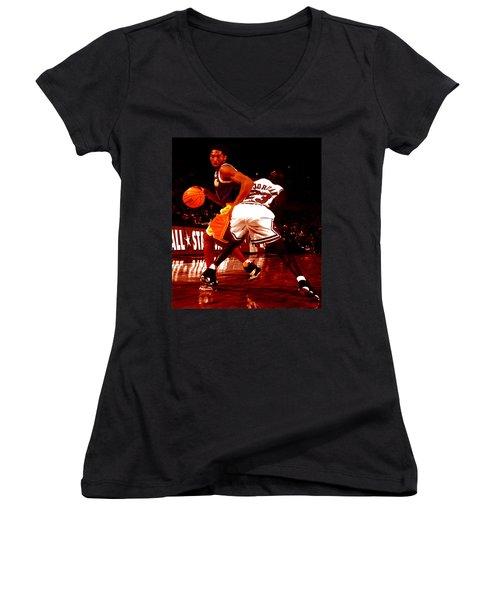 Kobe Spin Move Women's V-Neck T-Shirt (Junior Cut) by Brian Reaves