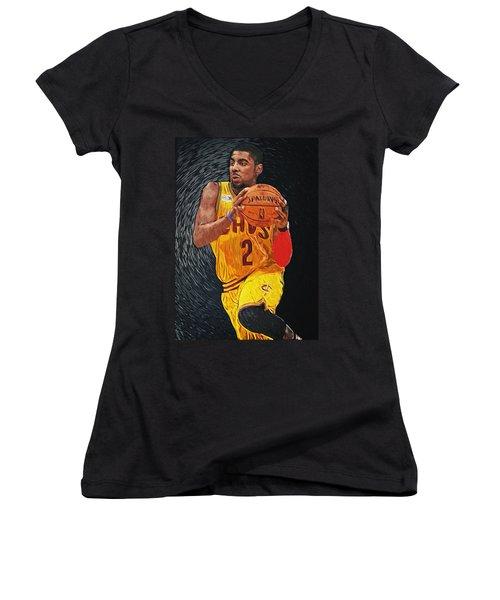 Kyrie Irving Women's V-Neck T-Shirt (Junior Cut) by Taylan Soyturk