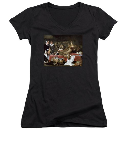 Le Cellier Oil On Canvas Women's V-Neck T-Shirt (Junior Cut) by Frans Snyders or Snijders