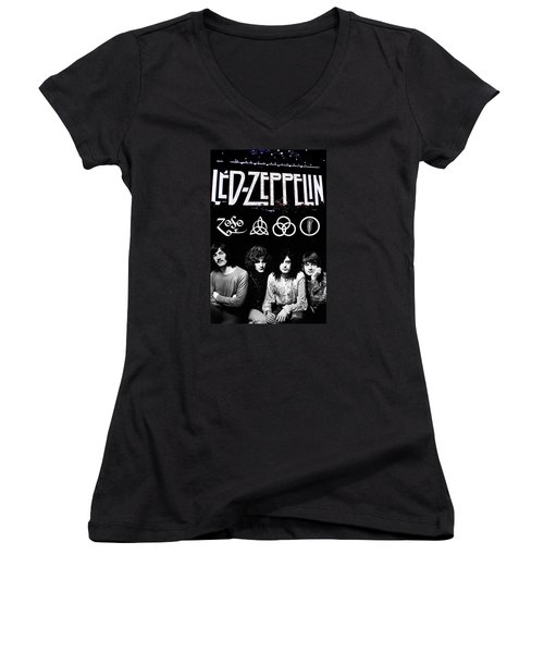 Led Zeppelin Women's V-Neck T-Shirt (Junior Cut) by FHT Designs