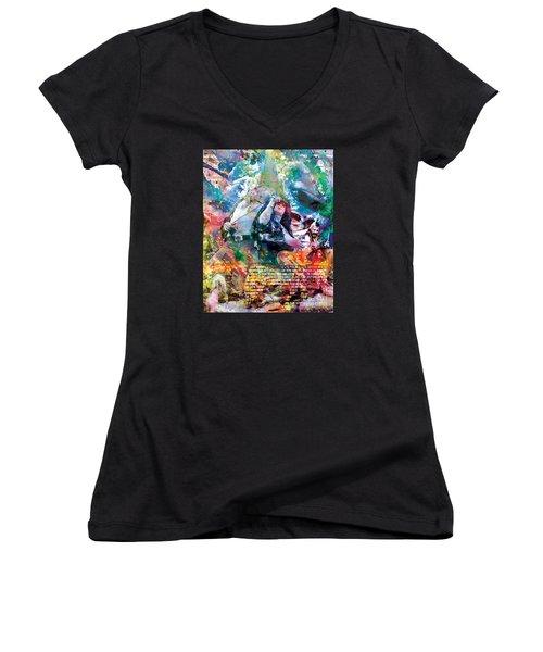 Led Zeppelin Original Painting Print  Women's V-Neck T-Shirt (Junior Cut) by Ryan Rock Artist