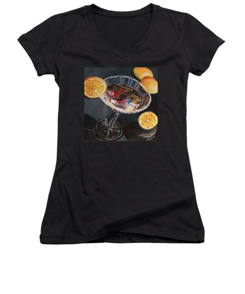 Lemon Drop Women's V-Neck T-Shirt (Junior Cut) by Debbie DeWitt