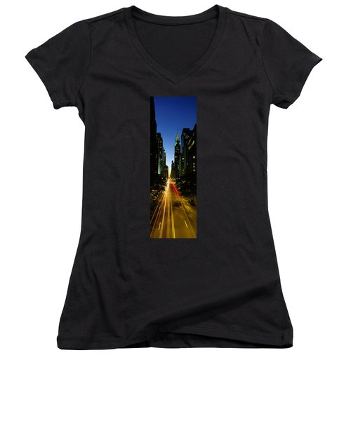 Lexington Avenue, Cityscape, Nyc, New Women's V-Neck T-Shirt (Junior Cut) by Panoramic Images